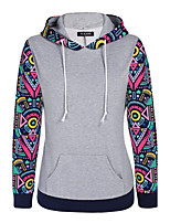 Women's Casual/Daily Sexy Regular Hoodies,Color Block / Patchwork White / Gray Hooded Long Sleeve Cotton Fall Medium