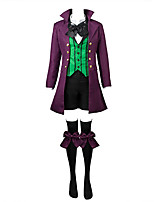 Inspired by Black Butler Ciel Phantomhive Anime Cosplay Costumes Cosplay Suits Solid / Patchwork Black / Purple / Green Long SleeveCoat /