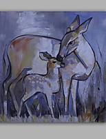 Hand-Painted Abstract / Animal/Deers Classic/Modern One Panel Canvas Oil Painting For Home Decoration