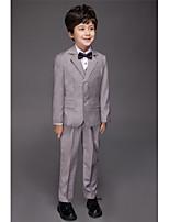 Polyester / Serge / Polester/Cotton Blend Ring Bearer Suit - Five-piece Suit Pieces Includes  Jacket / Shirt / Vest / Pants / Bow Tie