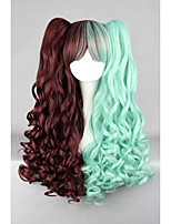 Green Brown Mixed 70cm Long Braid Wave High Quality Synthetic Party Cosplays Lolita Wig