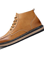 Men's Boots Fall Winter Comfort PU Casual Flat Heel Lace-up Black Brown Yellow