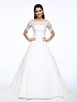 Lanting Bride® A-라인 웨딩 드레스 투피스 코트 트레인 오프 더 숄더 레이스 / 새틴 와 아플리케 / 비즈 / 버튼