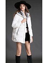 Women's Long Padded CoatSimple Casual/Daily Solid-Polyester Polyester Long Sleeve Hooded Black / Gray