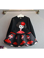 Girl's Going out Print Hoodie & Sweatshirt / SkirtCotton Spring / Fall Black / White
