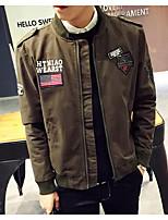 Мужчины На каждый день С принтом Куртка Воротник-стойка,Уличный стиль Осень Зеленый Длинный рукав,Хлопок,Средняя