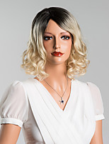 Elegant Medium Wavy Capless Wigs High Quality Human Hair Mixed Color 14 Inches
