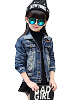 Girl's Casual/Daily Solid Suit & Blazer,Linen Spring / Fall Blue