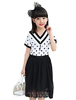 Girl's Casual/Daily Striped DressOthers Summer Black / White