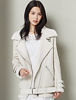 Xuebao Women's Casual/Daily Simple Fur CoatSolid Notch Lapel Long Sleeve Winter White Others Thick
