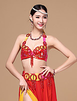 Belly Dance Outfits Performance Cotton / Polyester Beading / Paillettes / Pleated / Sequins 2 Pieces Dropped Top / Belt none