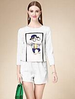 Set Pantalon Costumes Femme,Imprimé Décontracté / Quotidien simple Automne Manches Longues Col Arrondi Blanc Coton Moyen