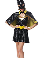 Cosplay Costumes Bat Movie Cosplay Black Solid Dress / Shawl / Hats Halloween / Carnival Female Patent Leather