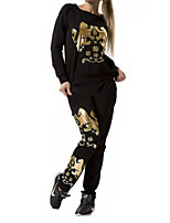 Women's Casual/Daily Active Fall / Winter Set Pant Suits,Print Round Neck Long Sleeve White / Black Polyester