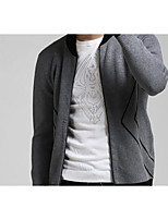 Men's Casual/Daily Simple Regular Cardigan,Solid Red / Black / Gray / Green Stand Long Sleeve Cotton Winter Medium Micro-elastic