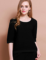 XuanFeiLu Women's Round Neck 1/2 Length Sleeve T Shirt Black / Pink-Q-603