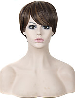 Short Straight Hair Brown and Blonde Mixed Color Synthetic Wigs for Women
