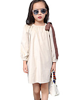 Girl's Casual/Daily Solid DressCotton Summer Purple / Beige