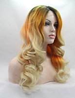 Sylvia Synthetic Lace front Wig Blonde Orange Three Tones Hair Ombre Hair Heat Resistant Long Natual Wave Synthetic Wigs