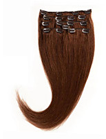 8A Clip in Human Hair Extensions 14-26 Remy Hair #6 Chestnut Brown Dyeable Hair Clip In Hair 100% Natural Human Hair Soft and Sleek