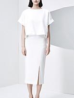 Tee-shirt Femme,Couleur Pleine Décontracté / Quotidien simple Eté Manches Courtes Col Arrondi Blanc Polyester Moyen