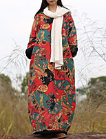 Cynthia Casual/Daily Chinoiserie Loose DressPrint Round Neck Midi Long Sleeve Red Cotton