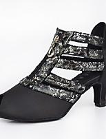Customizable Women's  Latin / Salsa Dance Shoes Satin / Leatherette Sandals / Heels Customized HeelIndoor Black