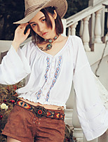 Aporia.As Women's Casual/Daily Street chic Fall BlousePrint V Neck Long Sleeve White Polyester-MZ36009