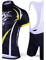 Deportes Maillot de Ciclismo con Shorts Bib Hombres Mangas cortas BicicletaTranspirable / Secado rápido / Diseño Anatómico / Resistente a