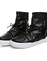 Men's Fashion Boots PU Outdoor / Party & Evening Flat Heel Zipper / Lace-up Black / White Walking EU39-43