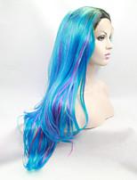 Sylvia синтетический парик фронта шнурка черные корни голубые смешанные фиолетовые волосы ломбера волосы жаростойкие длинные естественная