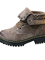 Girl's Boots Fall Winter Comfort PU Casual Flat Heel Black Brown Gray Walking