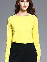 BOMOVO Women's Round Neck Long Sleeve T Shirt Yellow-B16QAX1
