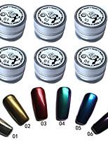 6 шт / комплект зеркало ногтей блестки порошок пыли поделки искусства ногтя блестки хром пигмент украшения 6 цветов