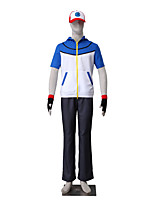 Inspired by Pocket Monster Ash Ketchum Anime Cosplay Costumes Cosplay Suits Solid Short Sleeve Top / Pants / Hat / Gloves