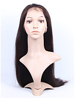 Brazilian Virgin Human Hair 2# Dark Brown Color Full Lace & Lace Front Natural Straight Wig With Baby Hair