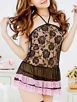 Women Ultra Sexy / Suits Nightwear,Sexy Solid-Thin Lace / Spandex White / Black Women's