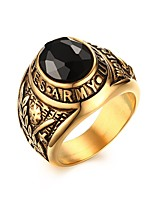 Men's Statement Rings Jewelry Daily/Hallowas/Party/Wedding/Casual Fashion Stainless Steel Rhinestone Golden 1pc  Christmas Gifts