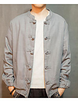 Men's Casual/Daily Chinoiserie Jackets,Solid Stand Long Sleeve Fall Gray Linen Medium
