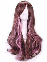 Cheap Halloween Long Wavy Brown to Pink Color Mixed Cosplay Synthetic Wig