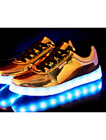 Unisex Sneakers Spring / Fall Comfort PU Casual Flat Heel Lace-up Silver / Gold Sneaker