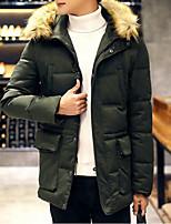 Пальто Простое Длинная На подкладке Мужчины,Однотонный На каждый день Полиэстер Полиэстер,Длинный рукав Синий / Черный / Зеленый