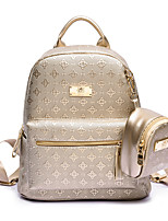 Women PU Casual Backpack Beige / Gold / Black