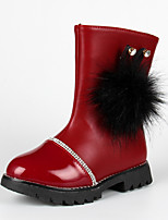 Girl's Boots Spring Fall Winter Comfort Leather Outdoor Casual Low Heel Zipper Black Red