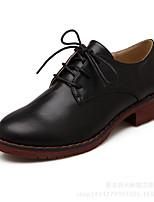 נשים-נעלי אוקספורד-PU-נוחות-שחור / חום / בז'-קז'ואל-עקב עבה