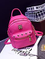 Women PU Casual Backpack White / Pink / Blue / Black / Fuchsia