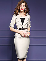 Women's Plus Size / Going out Street chic Fall Set SkirtSolid Notch Lapel  Length Sleeve Beige Polyester / Spandex