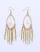 The European And American Fashion Eardrop Bohemian Personality Measle Tassel Earrings Long