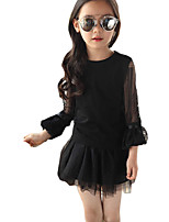 Girl's Casual/Daily Solid Dress,Rayon Summer Black