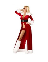 Christmas Costume /Holiday Halloween Costumes Red Solid Skirt / Belt / Garter / Briefs Christmas Female
